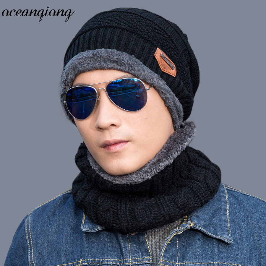 Winter Hats for Men Skullies Wool Knitted Balaclava Cap Hat Snow Cap Scarf Cap Warm Beanie Knit Hat  Boys Skullies Beanies leather skullies cap hats 5pcs lot 2278