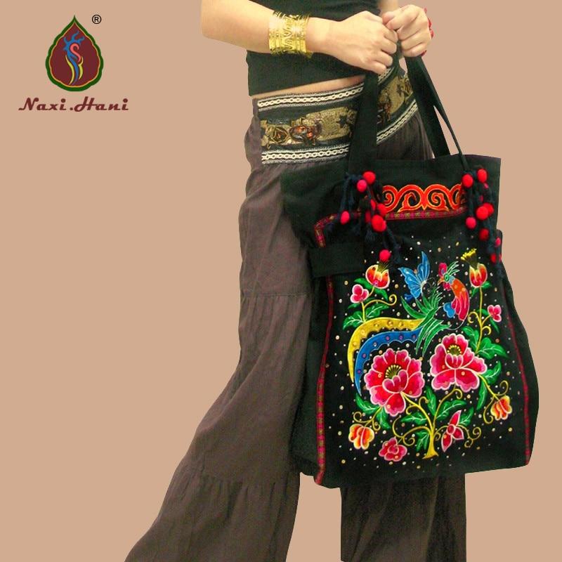 Newest Original Ethnic handmade sequins embroidery Women shoulder bags Black Fashion canvas casual messenger bags national trend women handmade faced flower embroidered canvas embroidery ethnic bags handbag wml99