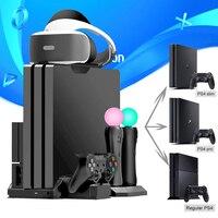 Soporte de refrigeración multifuncional PS4 Pro Slim /PS VR, Estación De Carga de controlador para Playstation 4 y PSMove