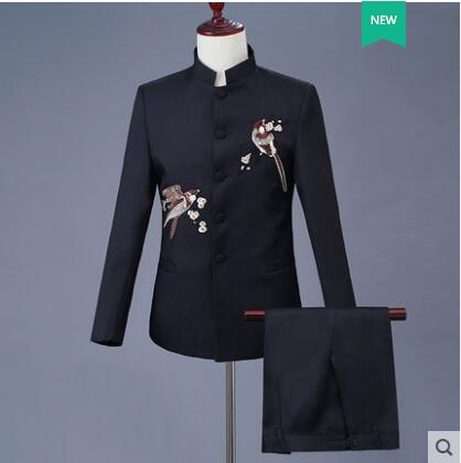 Slim Stand Collar Men Embroidery Suit Set With Pants Chinese Tunic Suit Mens Wedding Suits Formal Dress Men's Groom Suit + Pant