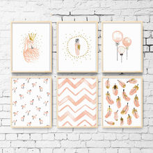 Quarto da menina do berçário decoração flamingo pena fotos da parede arte lona cartaz e impressão dos desenhos animados pintura para sala de estar
