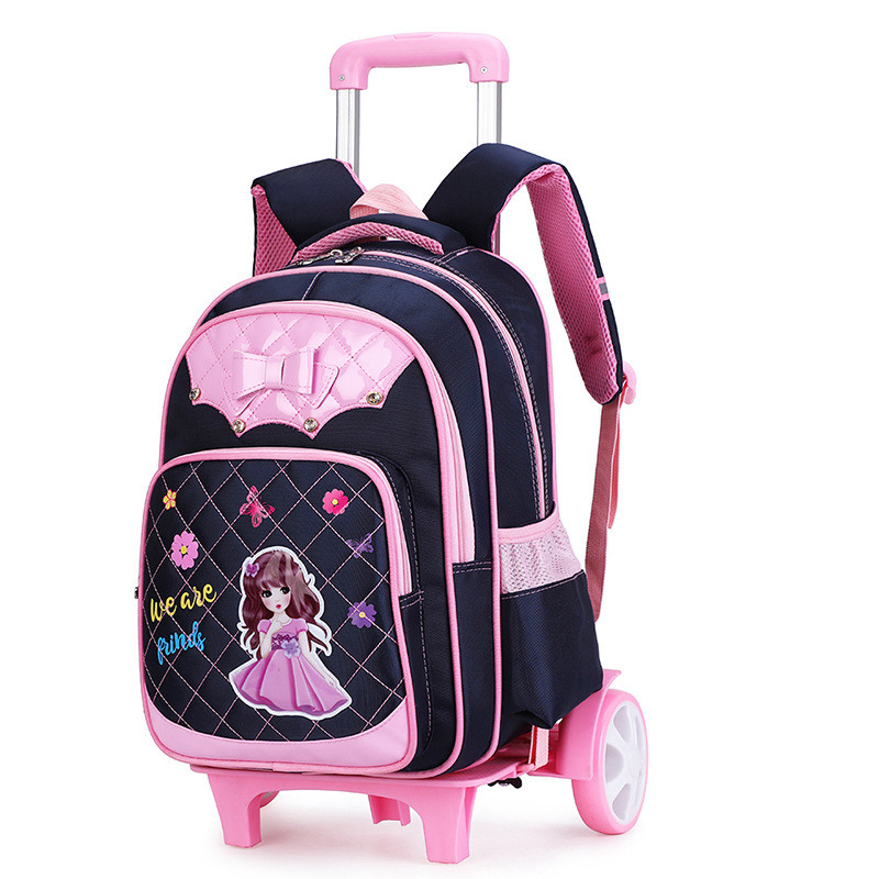 2 Wheels Children School bags Primary student trolley backpack Girls rolling luggage travel bag on wheels
