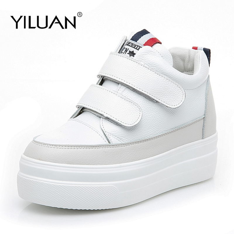 2019 spring autumn new leather white shoes Buckle Sneakers female students casual women's shoes Increased small size 32-40