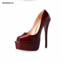 BBZAI shoes woman 16CM Thin Heels Peep Toe Pumps Four season haut Femmes Chausson Calzado Para Mujer Femmes Zapato 40-47 48