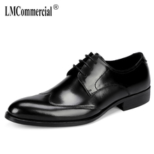 Spring summer fashion mens business shoes classic black Bullock men leather large size all-match cowhide Dress Shoes