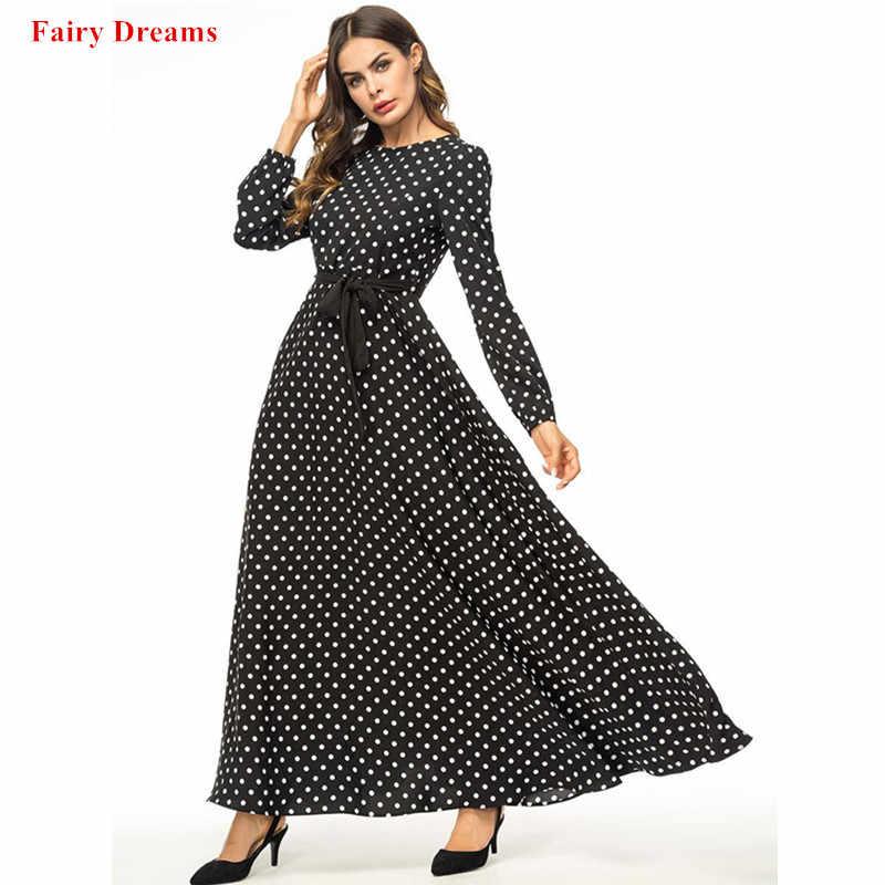 e5dc55aa673 Black Abayas Women Plus Size Islamic Clothing Dot Bandage Long Dresses Maxi  Muslim Dress Kaftan Dubai