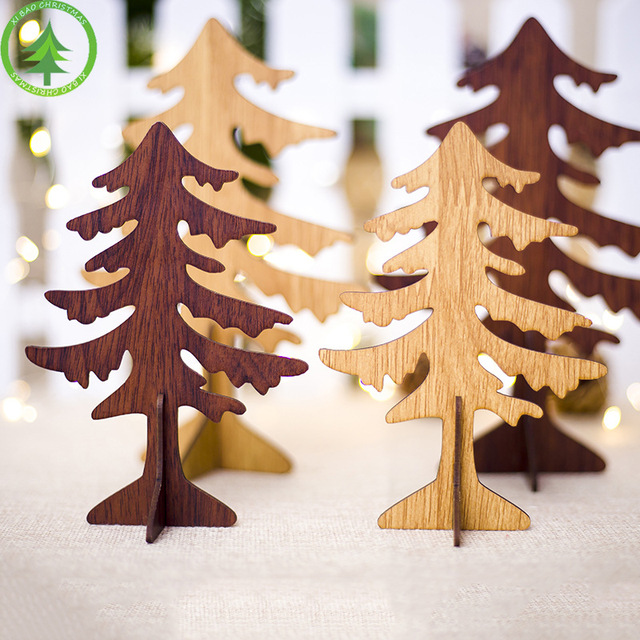 1pcs Diy Wood Christmas Trees Figurines For Home Party Christmas