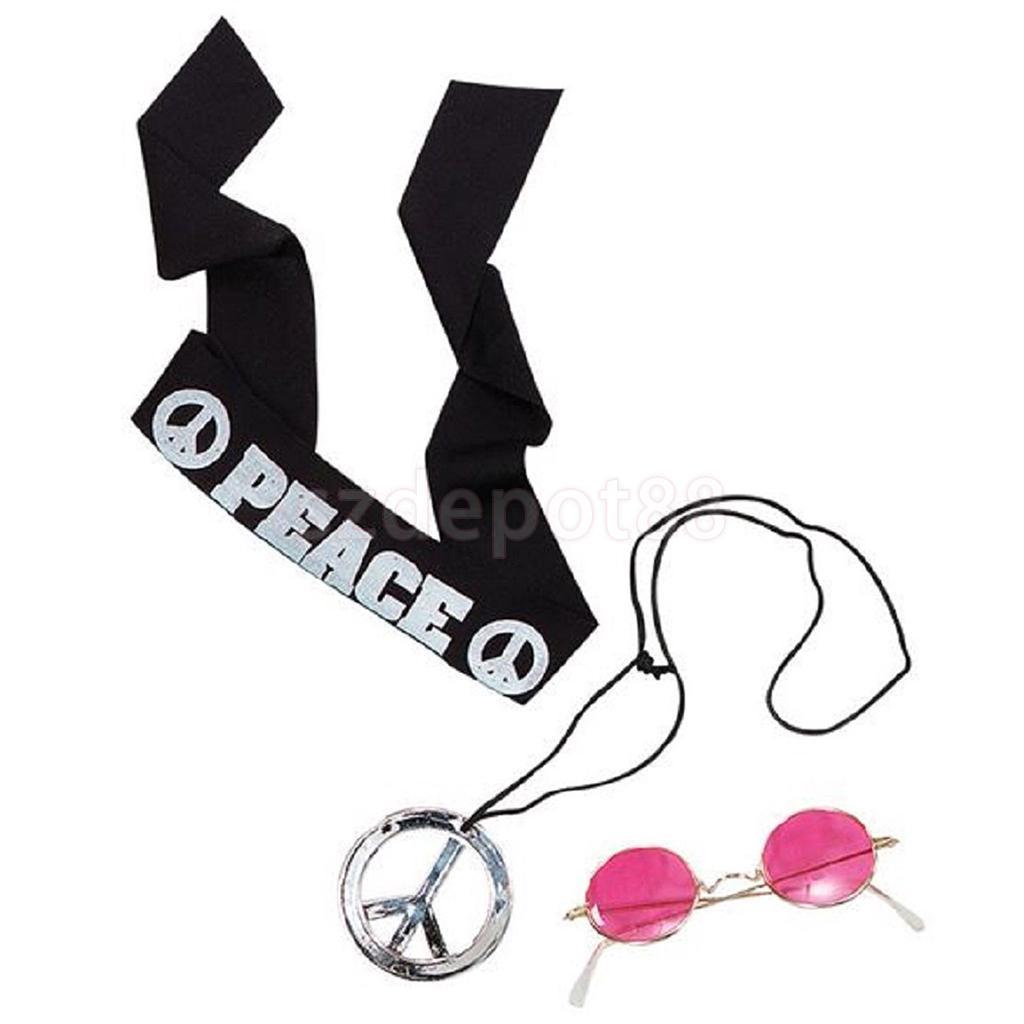 Hippy Belt Fancy Dress Hippie Headband Glasses 60s Necklace /& Sunglasses Set