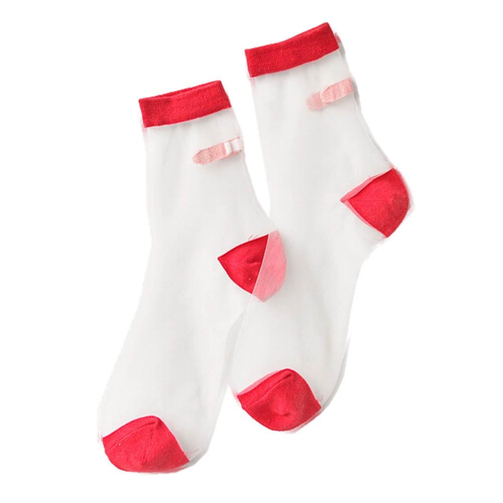 Japanese Summer Women Transparent Socks Harajuku Stretch Band Aid OK Crystal Sock Japan Glass Silk Art Socks Calcetines Mujer