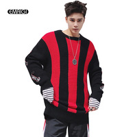 Stripe Pullover Sweater For Men Fashion Casual Hip Hop Loose Knitted Sweater