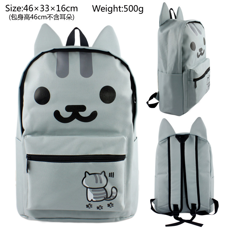 Japanese Game Neko Atsume Cat With Ear Backyard Backpacks Bag Girls Students Shoulder Bag Schoolbag kitty cat backyard neko atsume backpack comic periphery dual portable canvas shoulders bag cartoon accessory kids anime gift