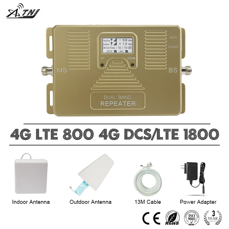 ATNJ 4G LTE 800 DCS 1800 Moible Phone Signal Repeater B20 B3 LCD Display 4G LTE Cellular Signal Booster 70dB Gain 4G Amplifier