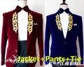 (jakcet+pants+tie) male wedding groom prom suit coats trousers  jacket party dancer singer show nightclub Outdoors Slim wear