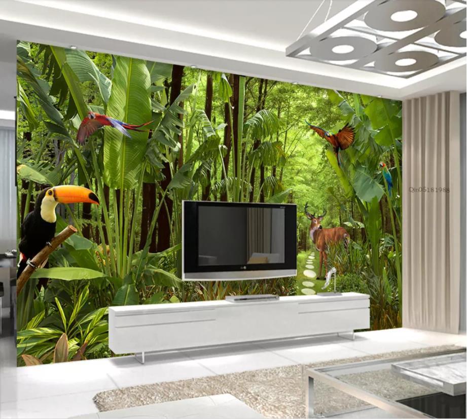 Customize 3d Wallpaper Rainforest Wallpaper For Bedroom Kitchen