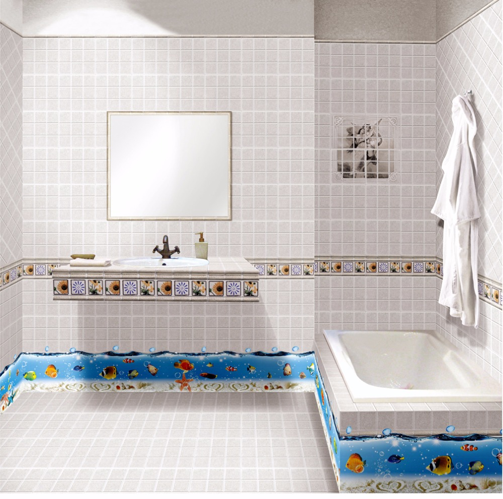 deepsea viw baseboard wall stickers art decals for bathroom ...