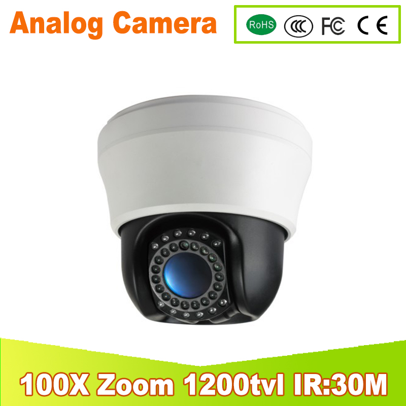 Free shipping 100X ZOOM 1/3Sony CCD 1200TVL Mini IR high Speed Dome PTZ 3.5 Security Camera CCTV Picture ptz Dome camera IR:25 free shipping new 1 3 sony ccd hd 1200tvl waterproof outdoor security camera 2 pcs array led ir 80 meter cctv camera
