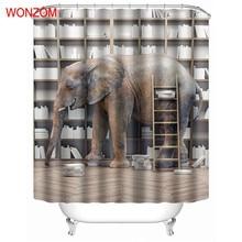 WONZOM Animal Shower Curtains with 12 Hooks Modern Elephant Waterproof Curtain For Mildewproof 2017 Bathroom Decor Gift