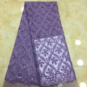 Madison 2019 African high quality velvet sequence French Nigerian sequins net tulle mesh Swiss lace fabric for dress 5yards/lot