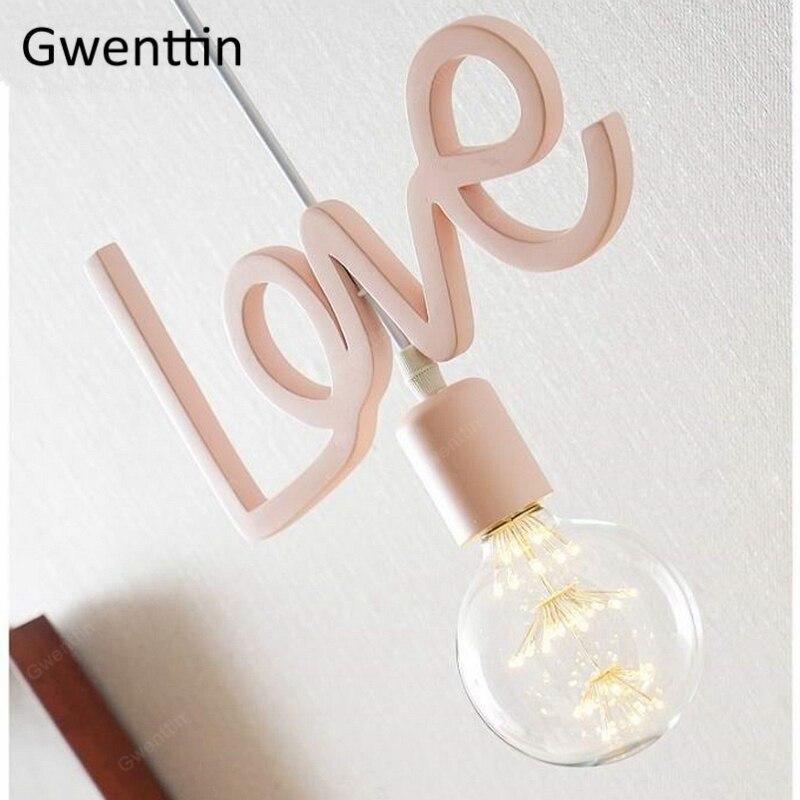 Romantic Love Pendant Light For Children's Room Girl Bedroom Suspension Luminaire Modern LED Hanging Lamp Wedding Decor Fixtures