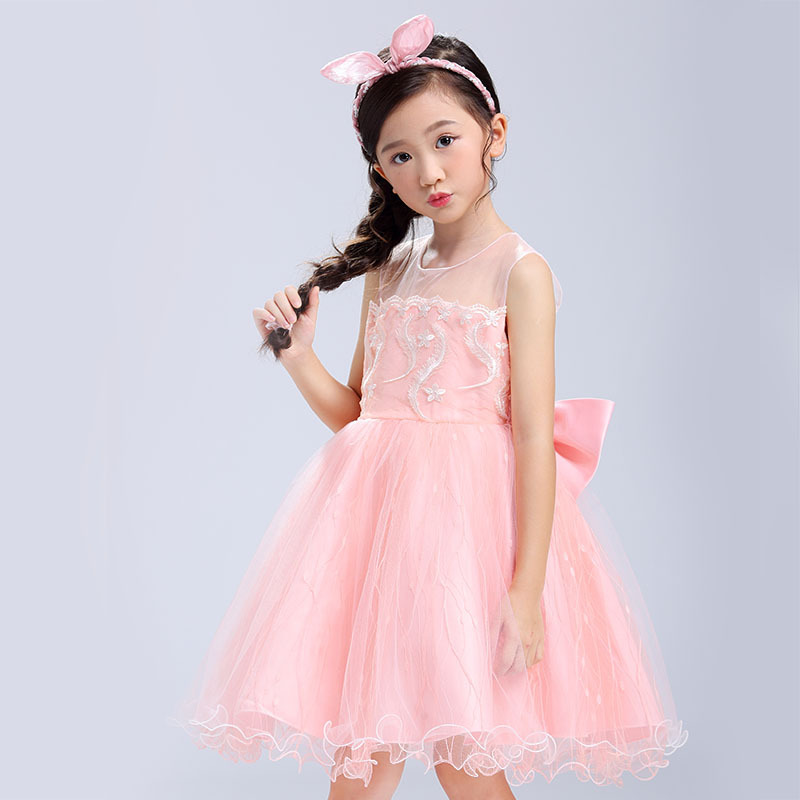 New Spring Autumn Fashion Style Children Girl Net Yarn Wedding Dress Girl Princess Dress Flower Baby Clothes 4-9Y