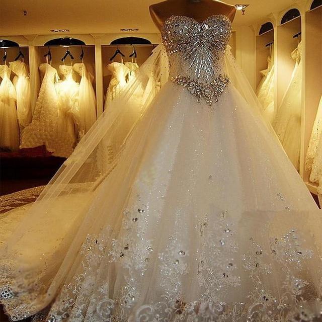 YIWUMENSA Vestidos De Noiva 2021 Sweetheartลูกปัดชุดแต่งงานสำหรับสตรีชุดบอลชุดเจ้าสาวTulleที่ถอดออกได้รถไฟ