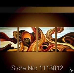 Современный ручной росписью линии Стрекоза Цветок картина маслом на холсте Абстрактная 4 Панель Наборы для ухода за кожей дома стены Искусс...