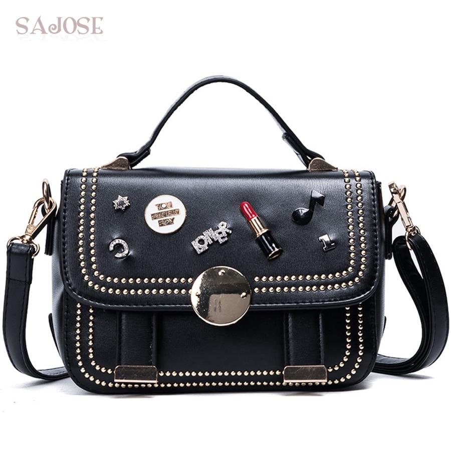 SAJOSE Women Crossbody bag Rivet Fashion Leather Bags Women's Messenger Diamond