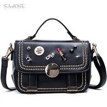 SAJOSE Women Crossbody bag Rivet Fashion Leather Bags Women's Messenger Diamond Ladies Shoulder Tote Handbag Designers Bag Women