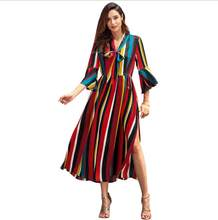 Spring Summer Dresses for Women 2019 Casual Dress Striped Half Fare Sleeve  Mid-calf Vestidos Jurken Sarafan Dashiki S-XL A-line 889921fe20f5
