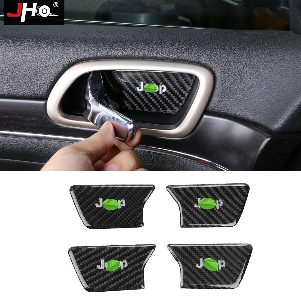 JHO углерода волокно внутренняя дверь чаша наручные ручки крышки Накладка для Jeep Grand Cherokee 2014 2015 2017 2016 18 автомобиль средства укладки волос