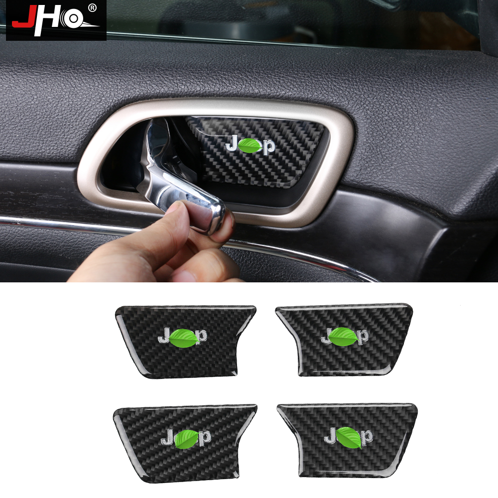 JHO Carbon Fiber Inner Door Bowl Wrist Handle Cover Trim For Jeep Grand Cherokee 2014 2015 2016 2017 18 Car Styling Accessories jho abs chrome inner door bowl wrist handle cover trim for jeep grand cherokee 2014 2015 2016 2017 2018 car interior decors