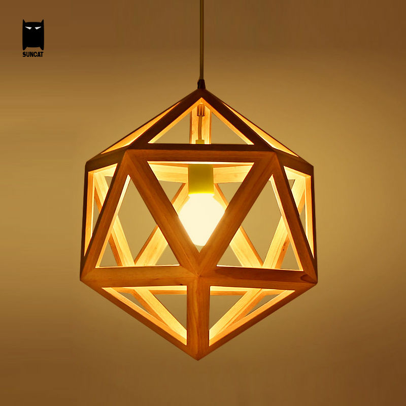 Oak Wood Diamond Cage Pendant Light Fixture Modern Nordic Hanging Lamp Lustre Avize Luminaria for Indoor Home Dinning Table Room wood pinecone pendant light fixture modern nordic antichoke hanging lamp lustre avize luminaria dining table room restaurant