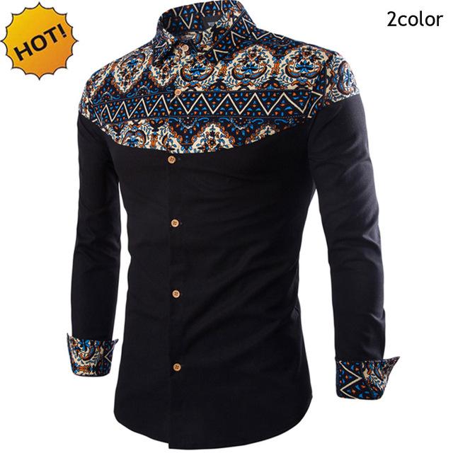 Hot2016 Otoño Resorte de La Manera camisa Casual slim fit Camisas de Vestir de Los Hombres Ropa de la Marca Impreso Floral Patchwork Camisas de Esmoquin M-XXL