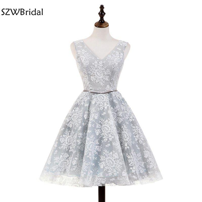 New Arrival V Neck Short   Cocktail     dresses   2019 Vestido de festa curto Backless Sexy Party   dress   Gray lace   dress   Plus size