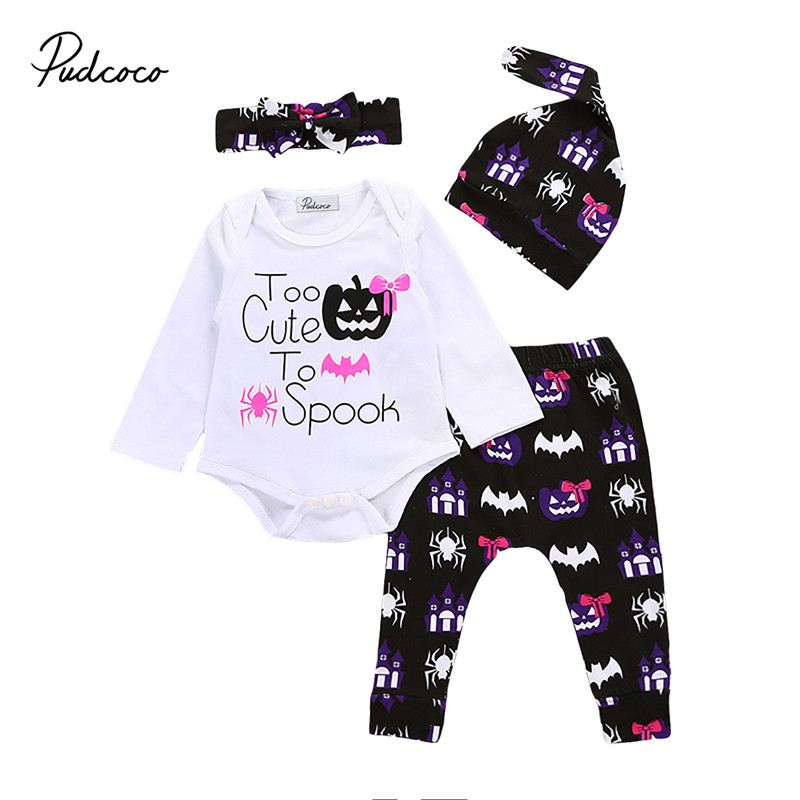 2017 High Quality Newborn Baby Girls Clothes Halloween Long Sleeve Romper Jumpsuit +Pants+ Hat +Headband 4pcs Baby Clothing Set