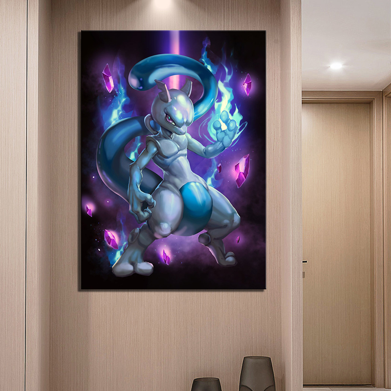 Wall Art Pictures Canvas Posters Home Decor 1 Panel Mewtwo Pocket Monster Pokemon Anime Abstract Painting HD Printed Photo Frame