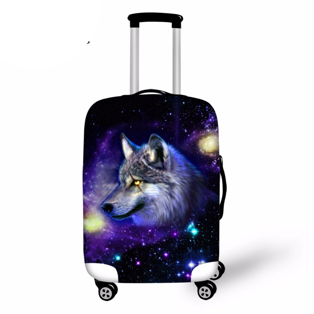 Elastic Travel Luggage Cover Waterproof Printing Wolf Horse Suitcase Cover For 18-28inch Elastic Trunk Case Cover