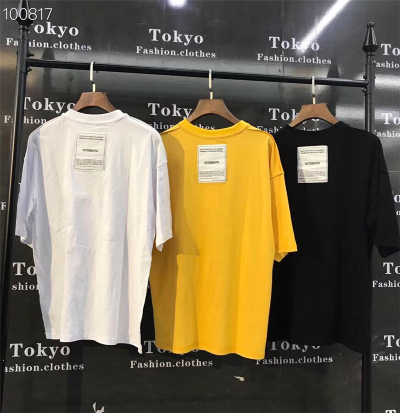 2019 New Vetements Patch T-Shirts 1:1 High-quality Oversize Top Tees Vetements T Shirts Embroidery Both Sides Vetements T Shirt