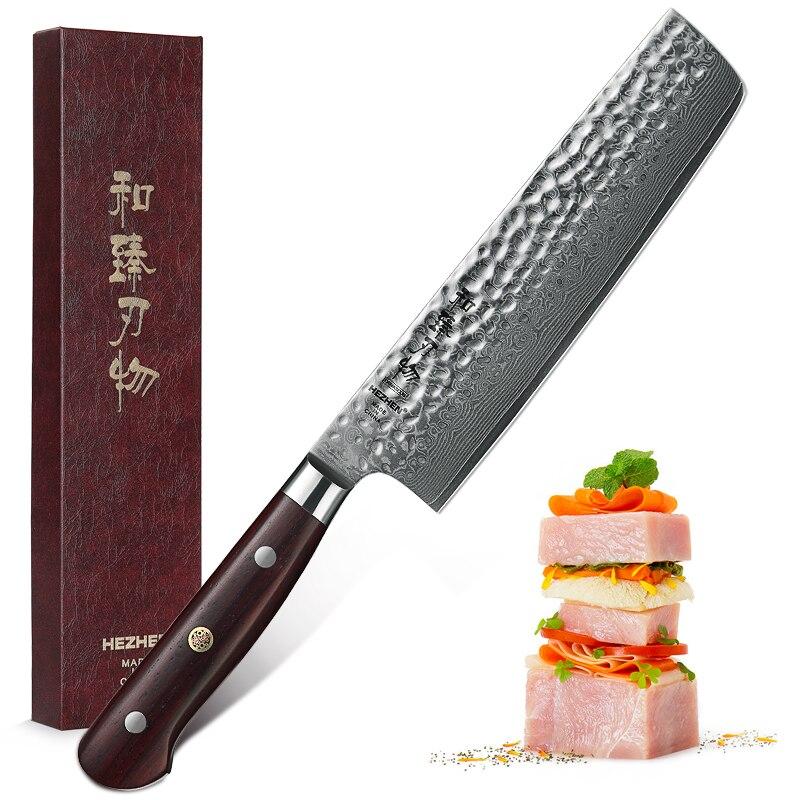 Cuisine Couteaux 7 ''Couteau Nakiri Haute Teneur En Carbone 60-62HRC Damas Super Acier Inoxydable Acier Boucher Couperet Couteau Dalbergia Poignée