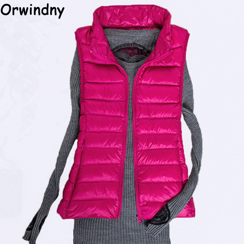 Orwindny Ultra Light White Duck   Down   Vest Autumn Winter Women Sleeveless   Down   Jacket   Coat   Outwear Slim Warm Waistcoat Plus Size