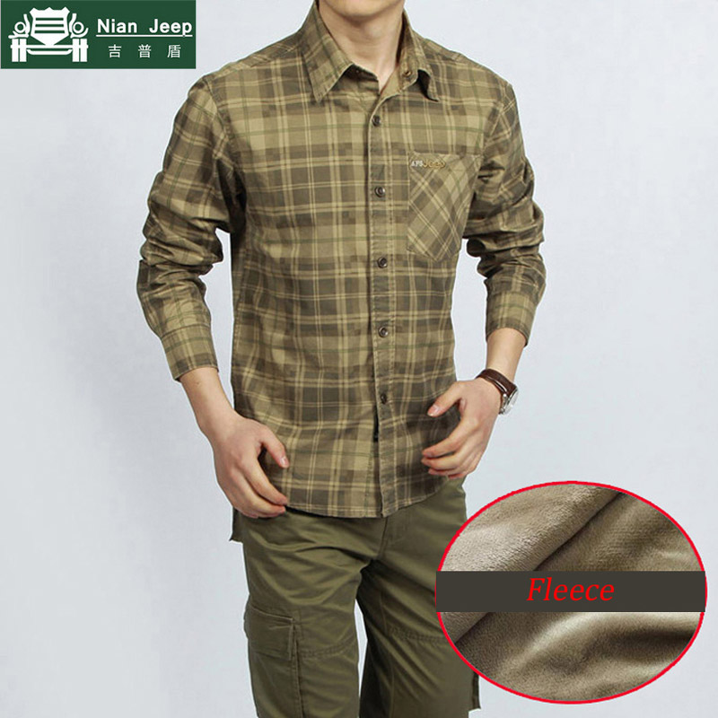 2020 Brand Shirt Men Autumn Winter Fleece Warm Men Shirt Plus Size 3XL Long Sleeves Army Military Shirt Men Chemise homme