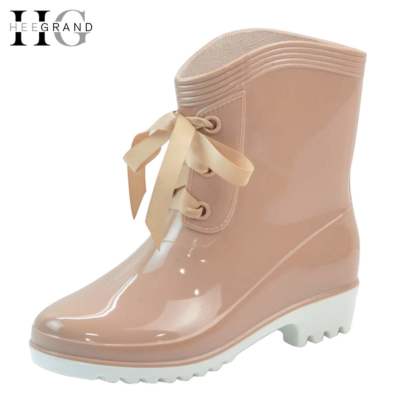 HEE GRAND Winter Rain Boots Rubber Women Ankle Boots Casual Platform Shoes Woman Lace Up Flats