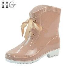 ХИ GRAND Зимний Дождь Сапоги Резиновые Женщины Ботильоны Случайные Платформа Обувь Женщина Шнуровке Квартиры Женская Обувь Размер 36-40 XWX4489