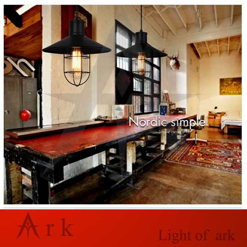 ARK LIGHT FREE SHIPPING american old furniture nostalgic vintage BLACK iron CAGE pendant light ark light vintage reminisced black iron pendant light american style classical pendant light dinning room coffee