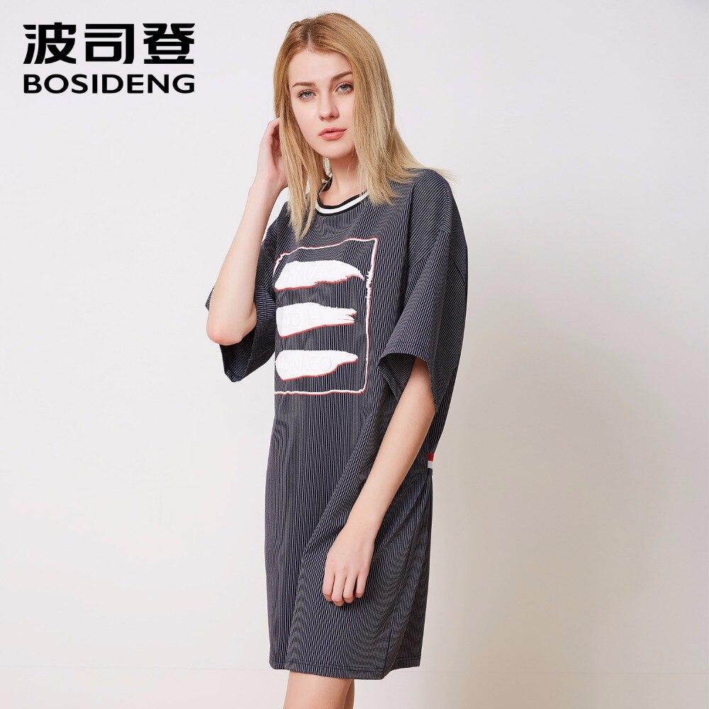 BOSIDENG 2018 new summer dress women mini dress free loose casual wear high quality O-neck strip Abstract pattern B80416142