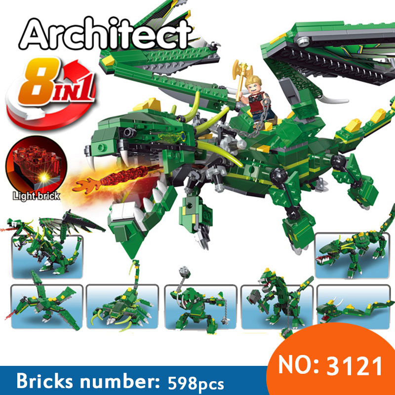 Decool 3121 598pcs 8in1 Ninja Green Dragon With Light Building Blocks set DIY Bricks Toys for children Funny Toys Gift 32 32 dots plastic bricks the island straight crossroad curve green meadow road plate building blocks parts bricks toys diy