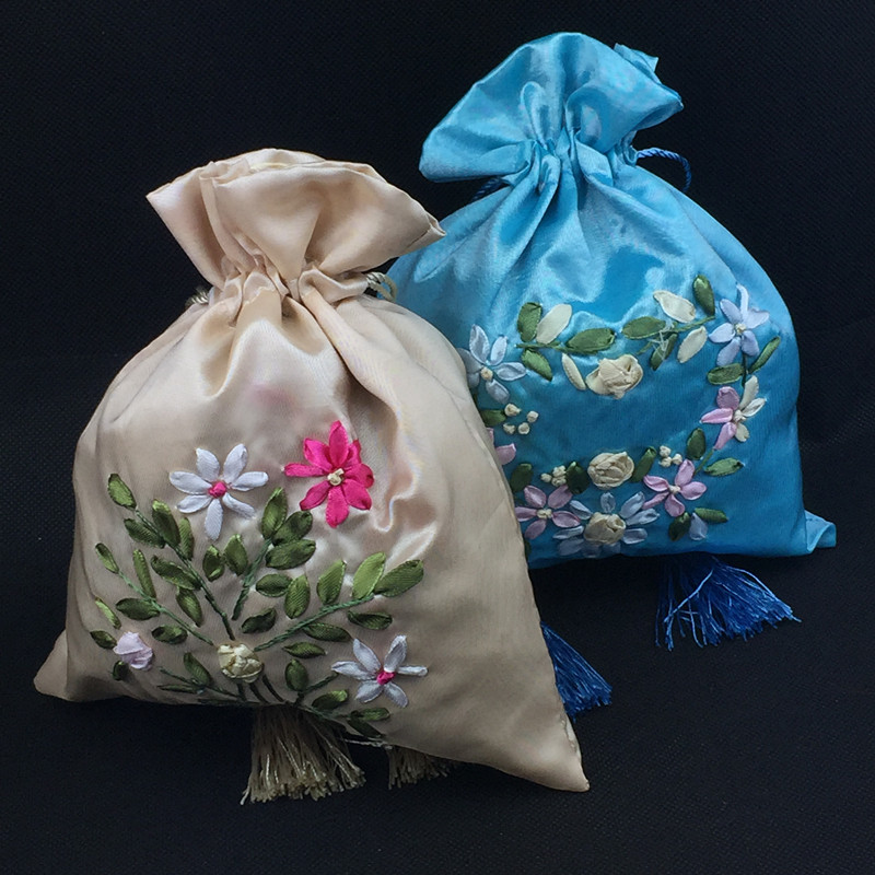 Ribbon Embroidered Large Weddidng Birthday Gift Bags For