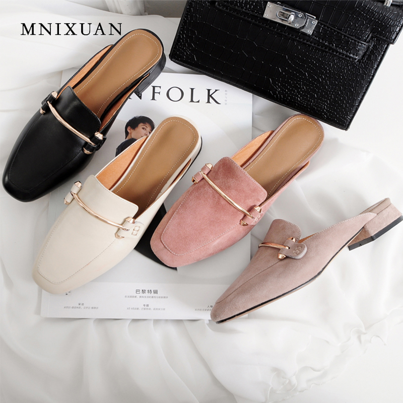 MNIXUAN high quality women shoes pumps covered toe mules 2018 antumn new square toe genuine leather medium heels no heel sandals women chic champagne patent leather sandals square thick high heels pumps covered heel single strap gladiator shoes golden pumps