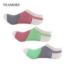 Veamors 3 пар/лот новая мода полосатый Для женщин классические Подследники и носки без верха, женские носки до лодыжки короткие тонкие хлопковые носки для лета