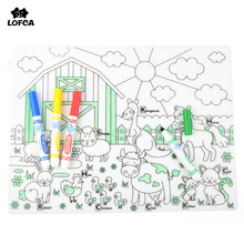 LOFCA 1 шт., водостойкая силиконовая столовая посуда, Детская моющаяся раскраска, подстилка для младенцев, силиконовая посуда для кормления детей без бисфенола